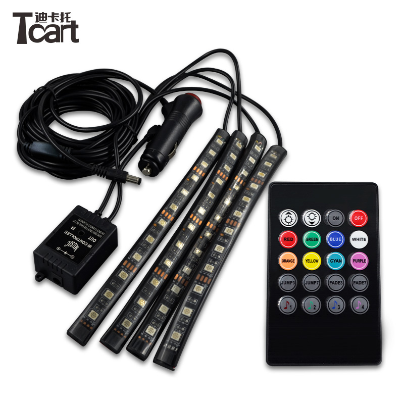 12V RGB Flexible LED Strip with IR remote sound activated control Car Internal Interior Foot Atmosphere Light