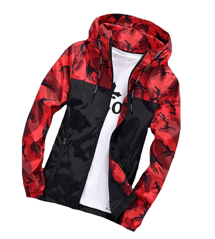 Sheng Xi Mens Outdoor Printed Camouflage Zipper Hood Windbreaker Jacket Coat