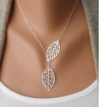 YANA Jewelry 2015 New Gold And Sliver Two Leaf Pendants Necklace Chain multi layer statement necklaces Woman Gift  SALE 50