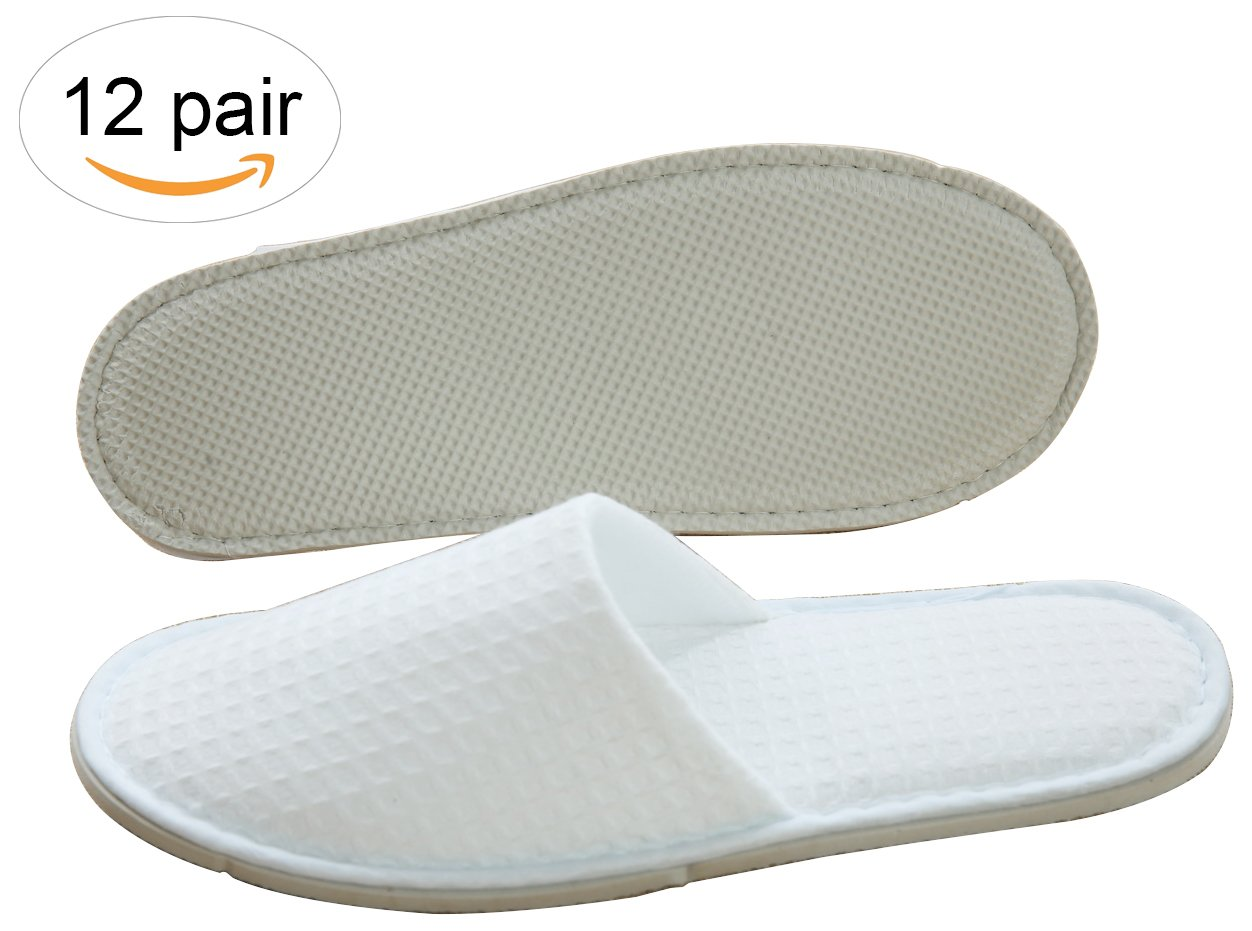 f792d94d0c35 Get Quotations · Three Artisans Featured Waffle Closed Toe Spa Hotel  Slippers For Men and Women 12 Pack