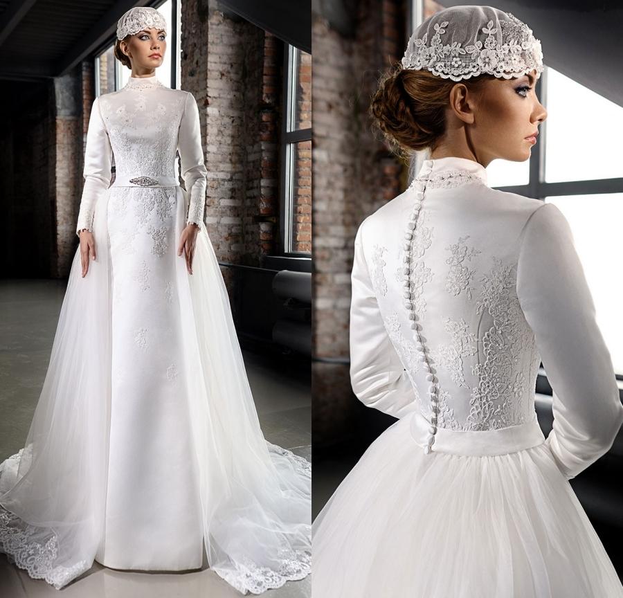 Elegant Long Sleeve Wedding Dresses Muslim Dress 2015: Vestido De Noiva 2015 Elegant High Neck Wedding Dresses
