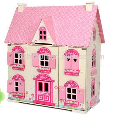 Houten speelgoed poppenhuis voor barbie poppenhuis meubels for Poppenhuis voor barbie