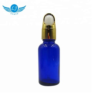 blue wholesale china factory custom color luxury black dropper round shape 30ml glass essential oil bottle