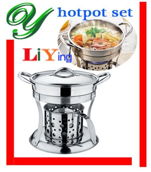 2019 Hot Pot Cooker Liquid Stove Set Chafing Dish Pots