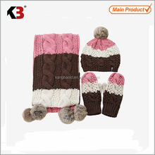 2017 cashmere wool knit scarf glove and hat set