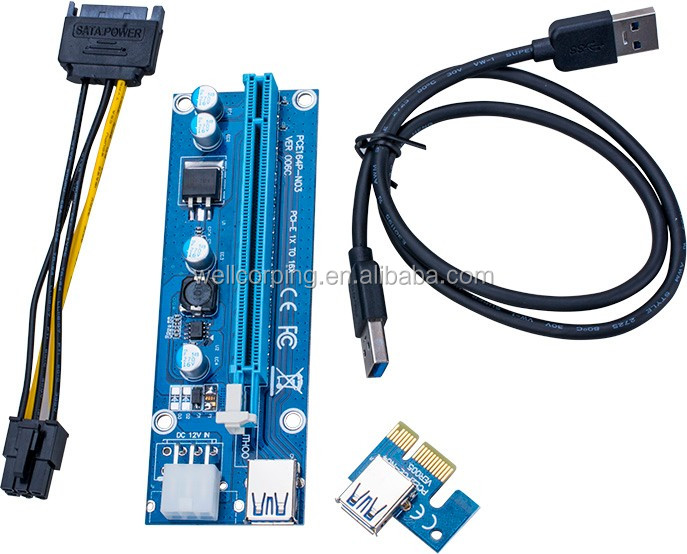 VER 006c 0.6M PCIe PCI-E 1x to 16x PCI Express Riser Card+ USB 3.0 Cable / SATA to 6Pin Molex Power Cord for BTC Miner Machine