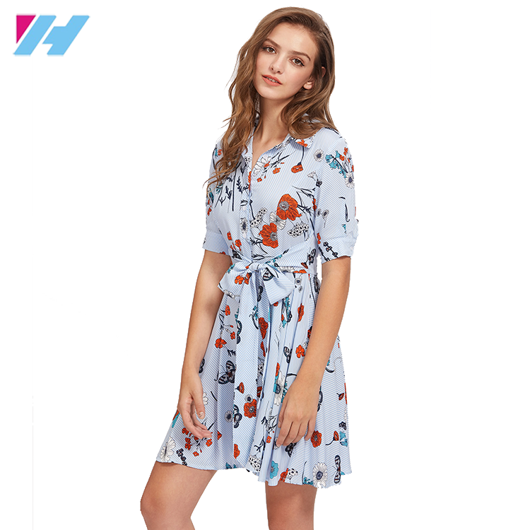 YIHAO Fashion Western Style Embroidery Collect Waist Boat Neckline Dew Shoulder Stripe Chalaze Women Dress