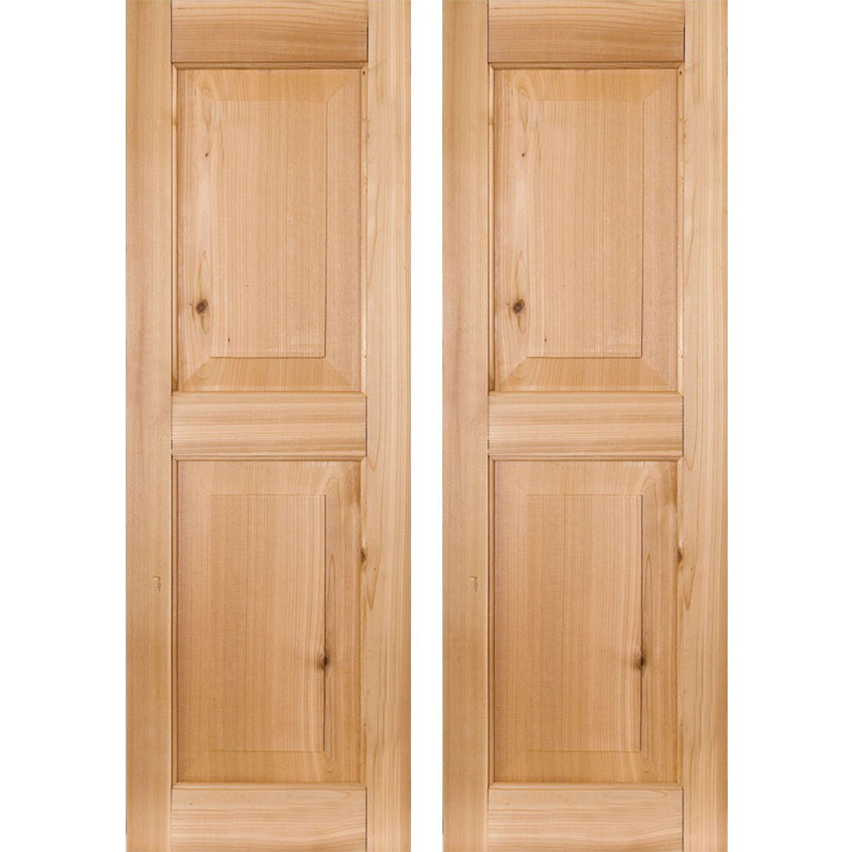 Ekena Millwork RWR15X025UNM Exterior Real Wood Sapele Mahogany Raised Panel  Shutters (Per Pair),