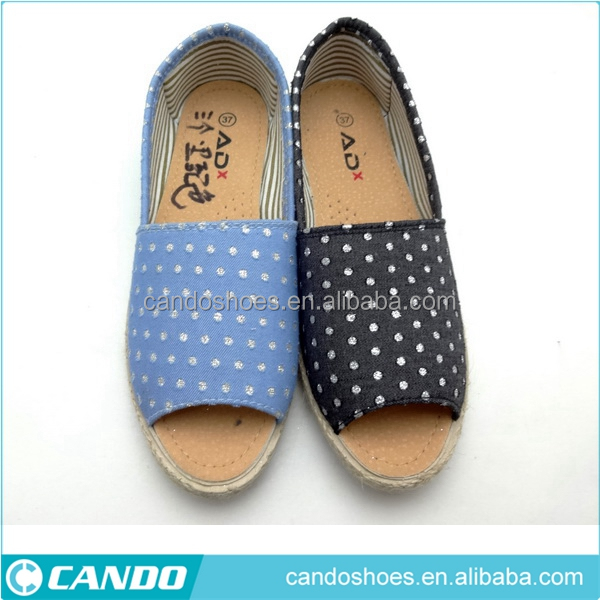 blue/white dots printed casual canvas shoes ,peep toe pump jute espadrille slip on shoes