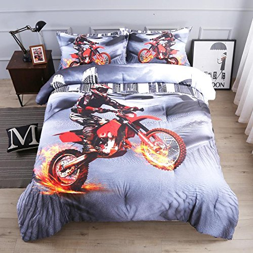 AMOR & AMORE 3D Motorcycle Comforter Sets Microfiber Men Boys Sports Bedding Sets (Full Size)