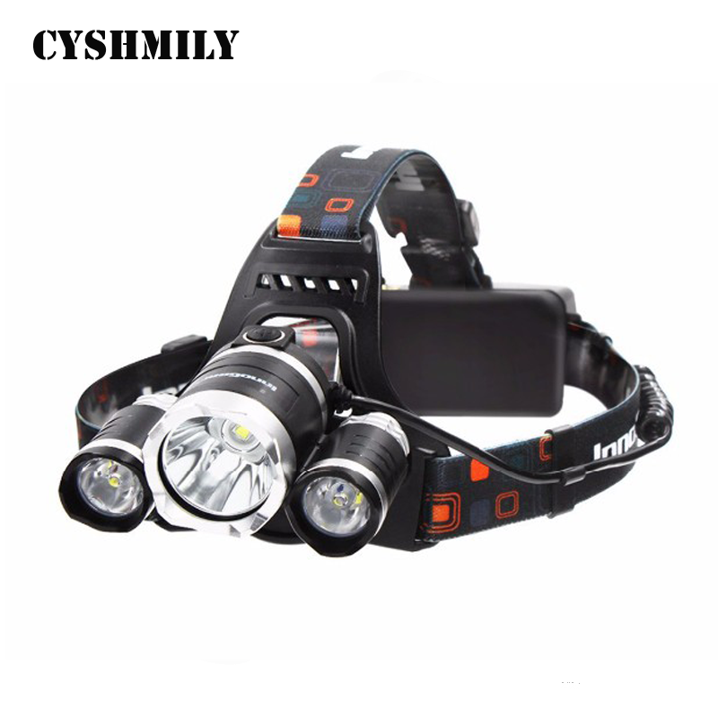 CYSHMILY High Power Aluminum Alloy ABS Rechargeable Waterproof 3 Xm-l T6 4 Modes LED Zoomable Headlamp