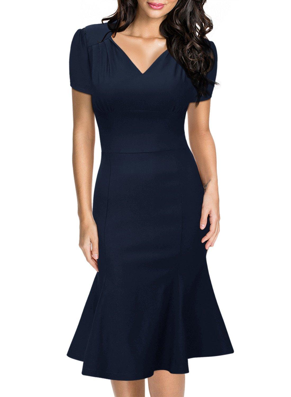Miusol Women's Retro V-Neck Cap Sleeve Business Official Fishtail Pencil Dress