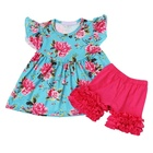 Newest Designs Flutter Sleeve Floral Printing Baby Girls Summer Ruffle Clothes Kids Outfits Clothing set