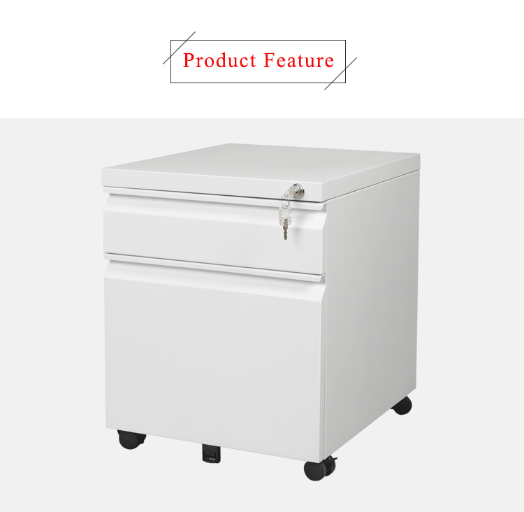 2-Drawer Metal Mobile File Cabinet with Lock, Fully Assembled Except Casters