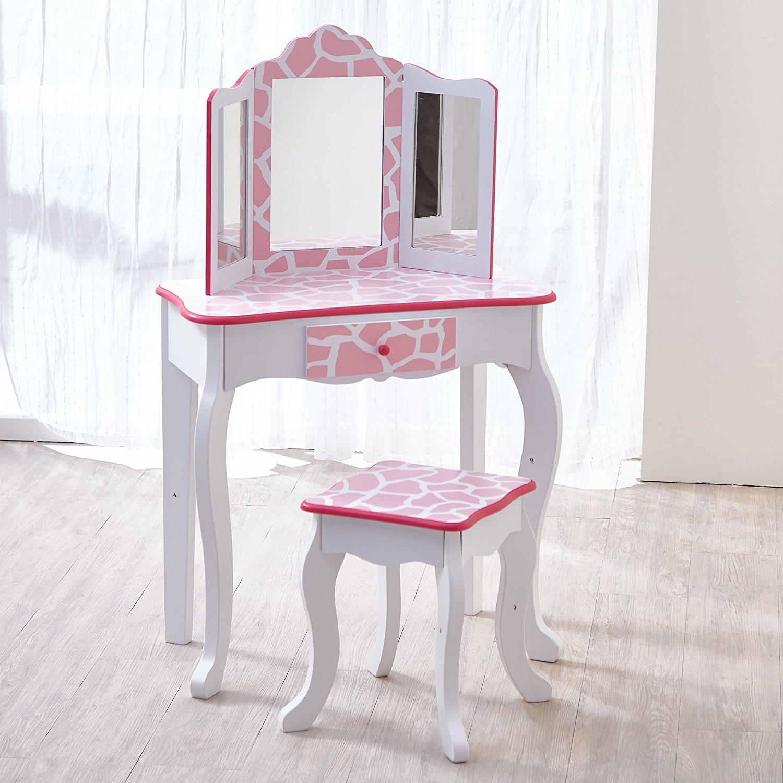 Bon Teamson Kids   Fashion Prints Girls Vanity Table And Stool Set With Mirror    Giraffe (
