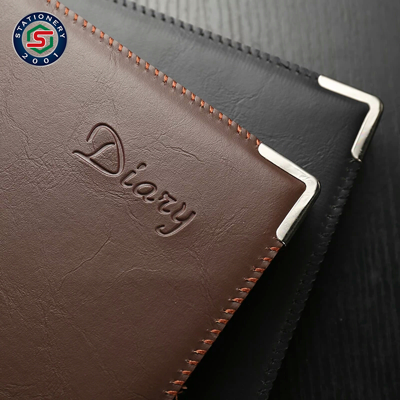 pu leather logo debossed notebook with card pocket and metal corner
