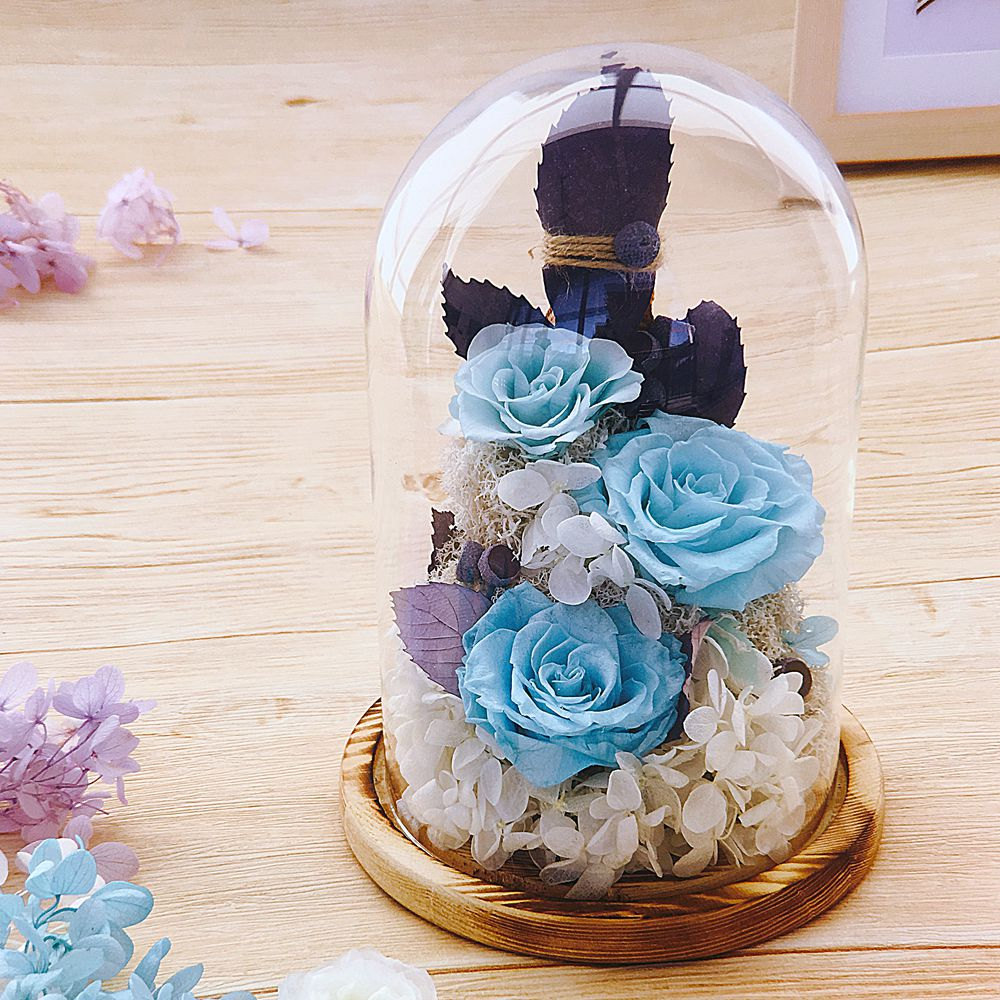 wedding gift 3-4 years lasting preserved blue rose flowers in glass dome