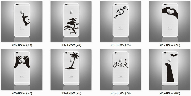 Wholesale Unique Black Vinyl Mobile Phone Stickers Decals for iPhone Decal 6 7 plus Skins