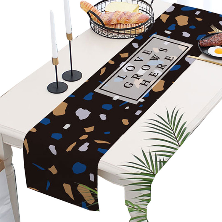 wholesale geometry triangle digital printed linen cotton chinese table runner