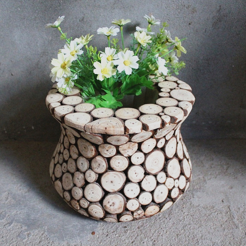 wooden decorative items wooden pot wood vase bulk flower pots