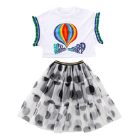 Fashion girls sleeveless tops + dot pattern chiffon skirt clothing summer factory wholesale children clothes set