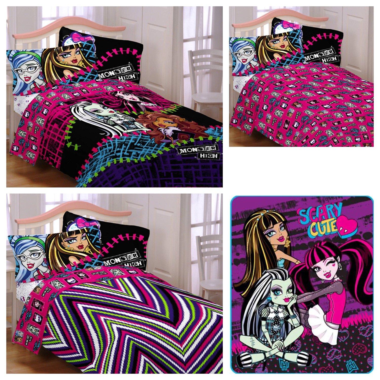Get Quotations Mattel Monster High Reversible Comforter Sheets Pillow Case Plush Blanket 5 Piece Bed