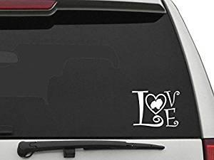 """Decal Dan - """"Pomeranian Love"""" 6 inch Vinyl Die Cut Car Truck Window Decal Sticker Laptop"""