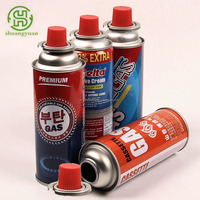 Straight gas can for cassette stove with aerosol valve red cap