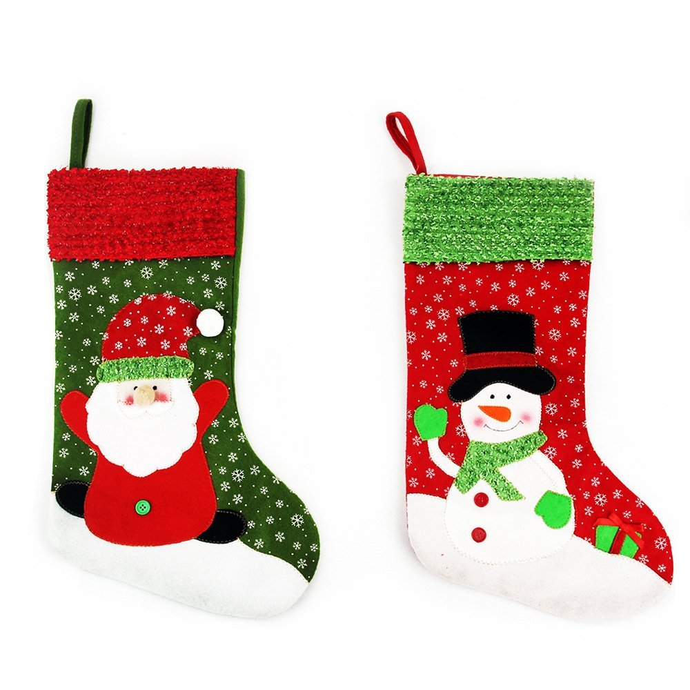 Zhihu Set of 2 Stockings for Santa Christmas Santa's Stockings Gifts Baskets Candy Holiday Candy Gift Bag and Treat Bags On Christmas Xmas Party Decorations for Christmas Gifts(Large)