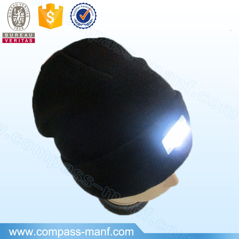 unisex winter knitted hat with LED lights