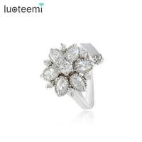 LUOTEEMI Fashion High Quality Women CZ diamond Luxury Flower Ring