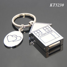 4GB Memory Stick USB Flash Drive Key Holder Promotional Key Ring House Shaped Metal Zinc Alloy USB Keychain