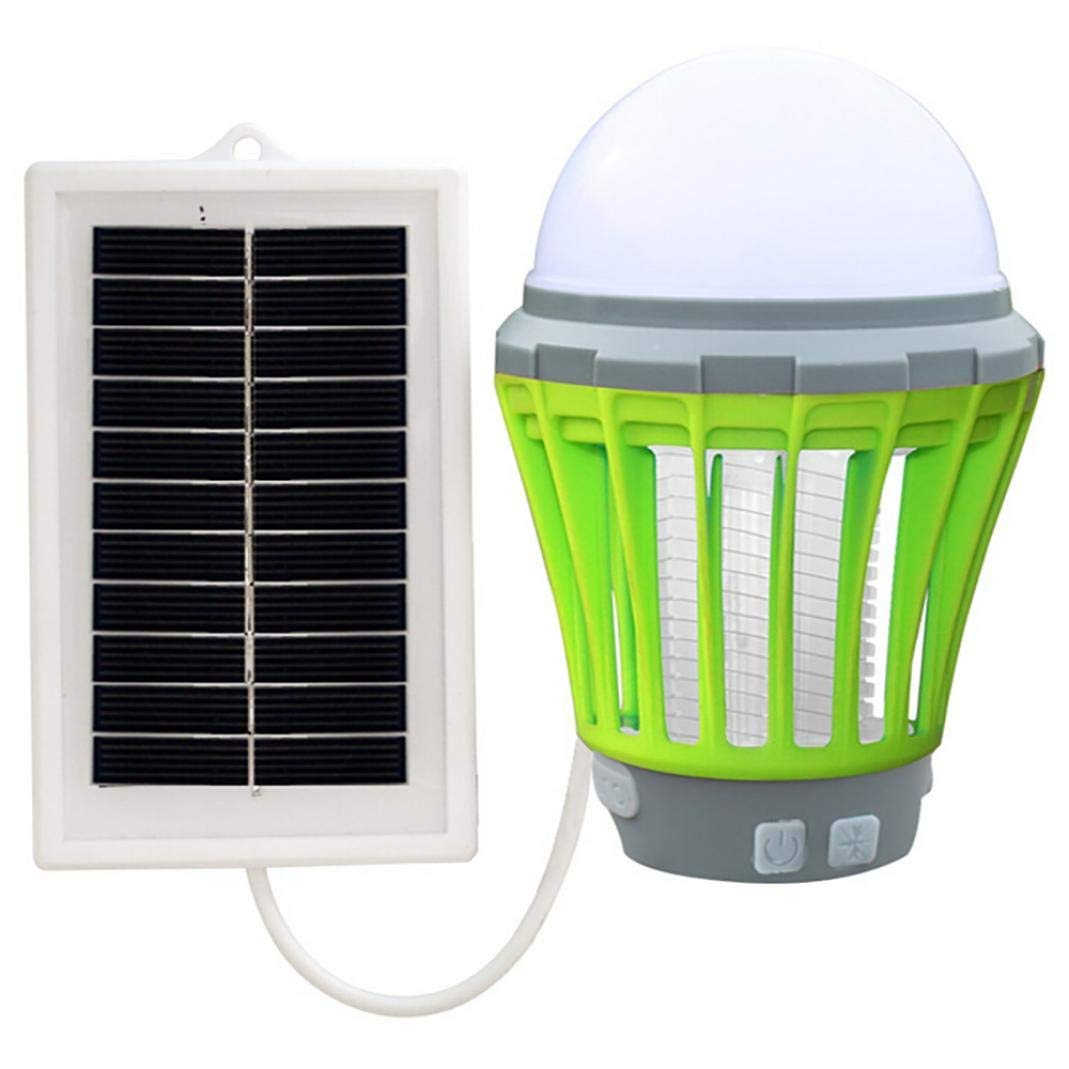 Inverlee UV Solar LED Electric Mosquito Killer Light Indoor Bug Fly Zapper Insect Catcher Killer Trap Mosquito Killing Njight Lamp (Green)