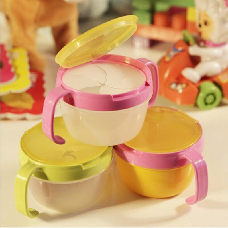 Hot sale anti spill design baby snack bowl double handle snack cups biscuit bowl baby food
