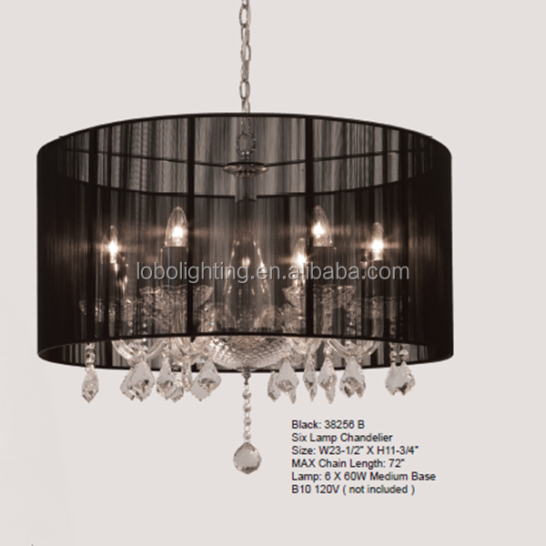 Five Lamp Beautiful Black String Chandelier With Black Crystal ...