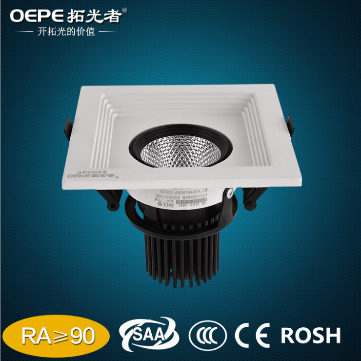 Black / White Led Ceiling Grille Lamp 20W Cob Led Grille Light
