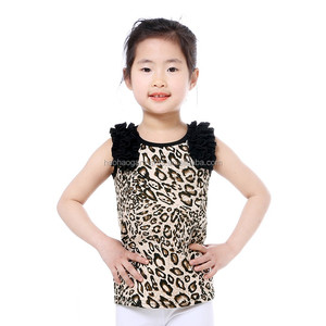Wholesale 2018 Hot Sale T shirt Kids Icing Top Leopard Cotton Baby Girl Ruffle Tank Top