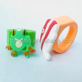 Popular Cute Kids Cartoon Finger Rubber Ring Pvc Silicone Ring