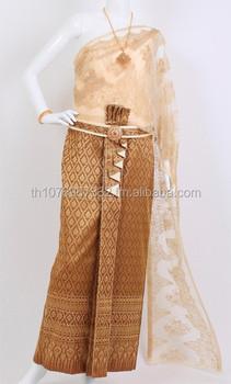 Cream Gold Brown 2 Thai Traditional Dress Thai National Costume Thai