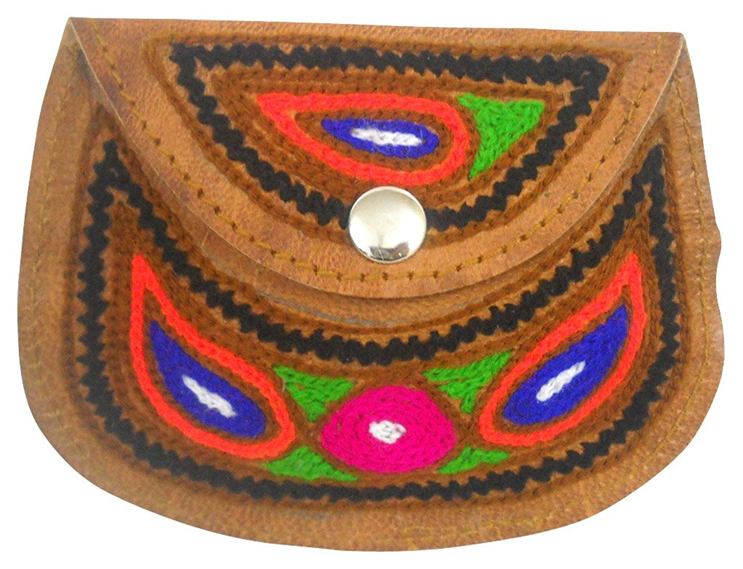 Beautiful Indian Handmade Multi Color Embroidered 100% Pure Camel Leather Coin Purse