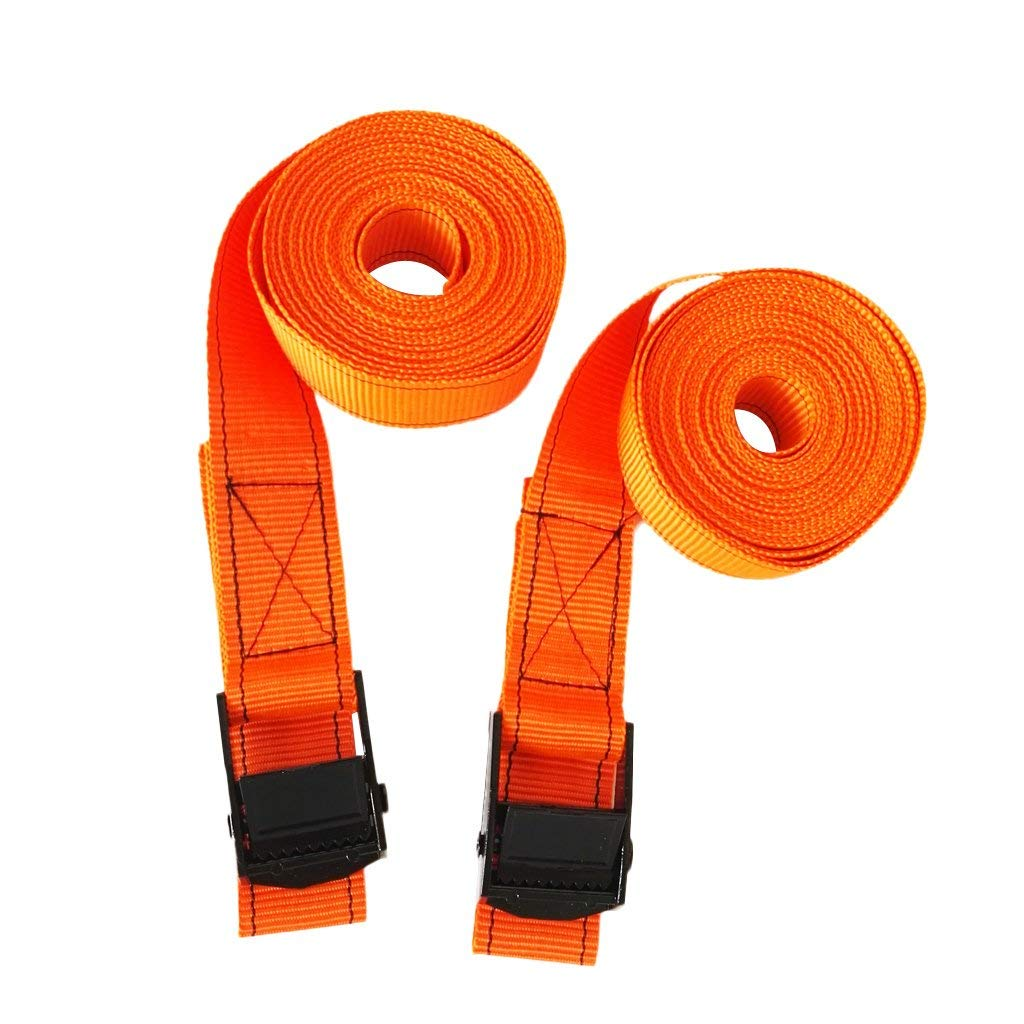 Fenteer 1 Pair 2.5cm Roof Rack Tie Down Straps Metal Cam Buckle Luggage Kayak SUP Surfboard Heavy Duty Nylon Webbing Tie Down Straps