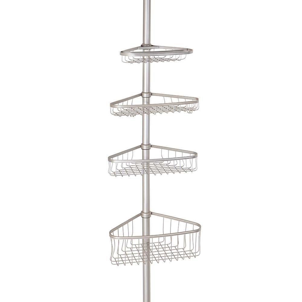 InterDesign York Constant Tension Corner Shower Caddy – Bathroom Storage Shelves for Shampoo, Conditioner, Soap and Razors, Satin