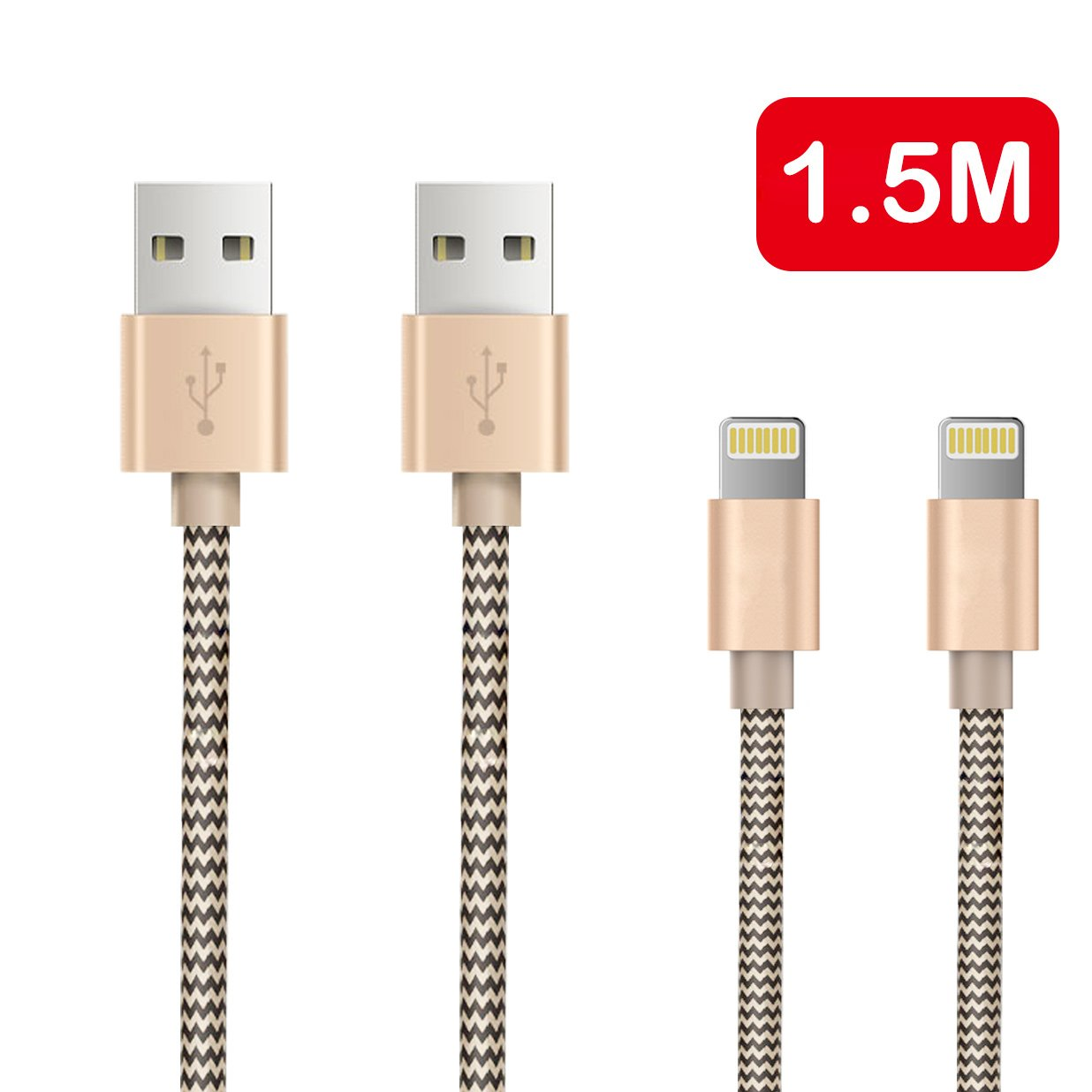 OTISA 2Pack 5Ft Nylon Braided Lightning Cable with Ultra-compact Connector(Fits for most phone cases), iphone charging cable for iPhone 5se/6s/6/6s plus/5s/5/7/7 plus, iPad,iPod Compatible with iOS9