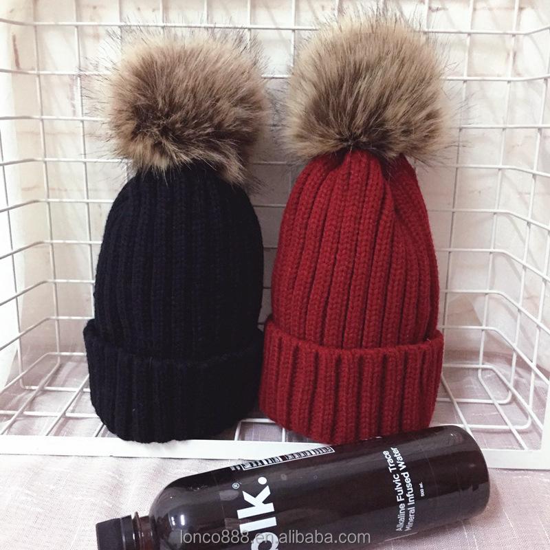 Womens Ladies Faux Fur Detachable Fur Pom Pom Knit Winter Beanie Hat Cap