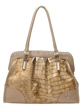 Metallic gold crocodile embossed pu shoulder bags newest hot sell summer fashion handbags