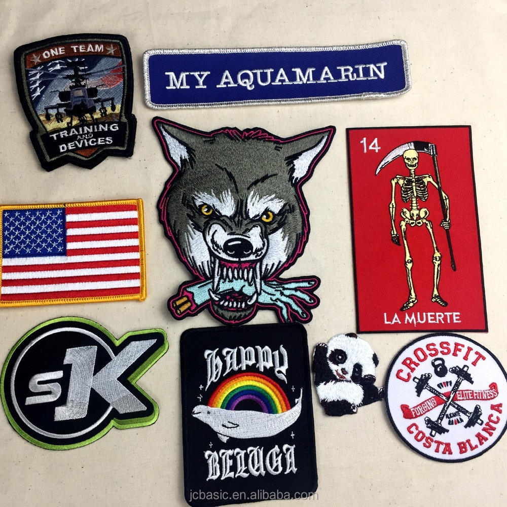 logo cheap clothing iron on Custom embroidered patches