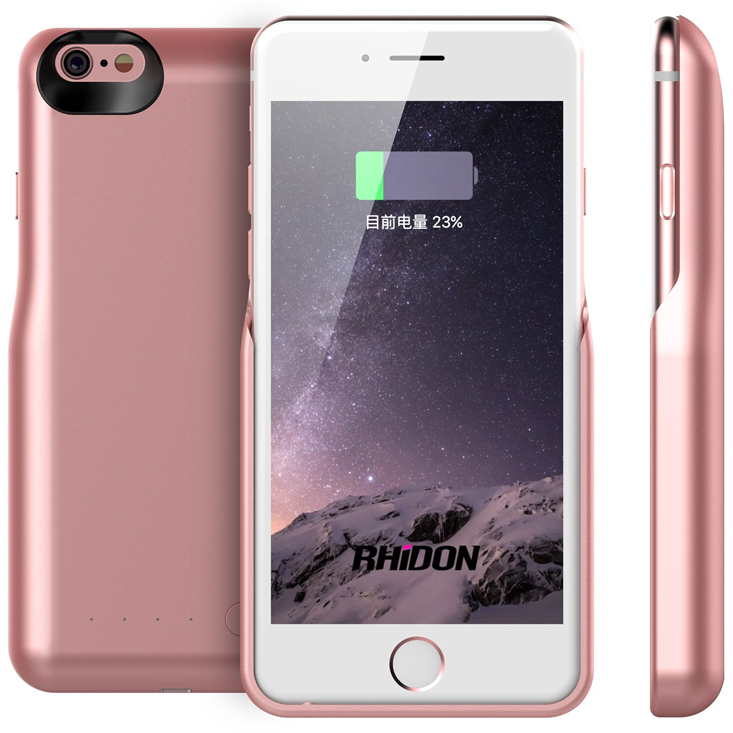 iPhone 6S Battery Case, Rhidon 5000 mAh Power Bank Case Rechargeable Protective Battery Charging Case for Apple iPhone 6 6S (4.7 inch) (Rose Gold)