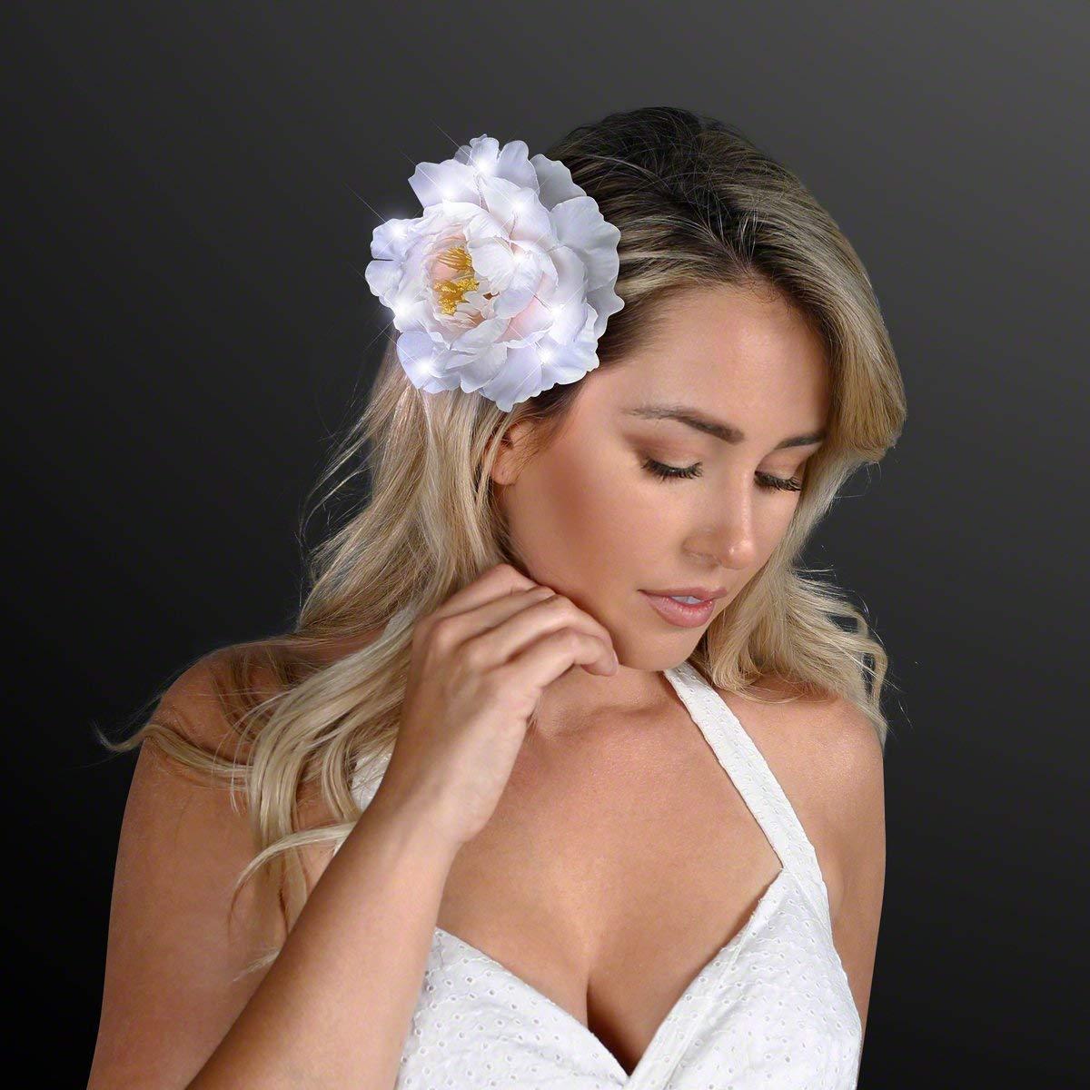 FlashingBlinkyLights White LED Classy Hair Light Up Flower Clip