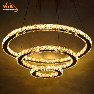 Round rings led lighting lamps crystal chandelier for home