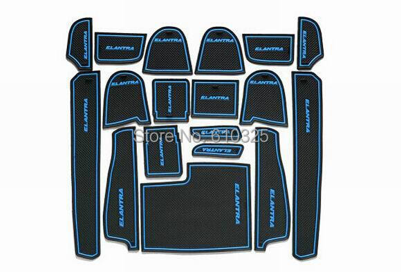 Car Blue Gate Slot Pad Cup Mat Armrest Storage Pad Anti-Slip Mat For HYUNDAI ELANTRA 2012 Retail/Set Free Shipping